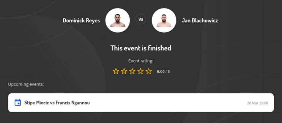 Dominick Reyes vs Jan Blachowicz Betting Odds