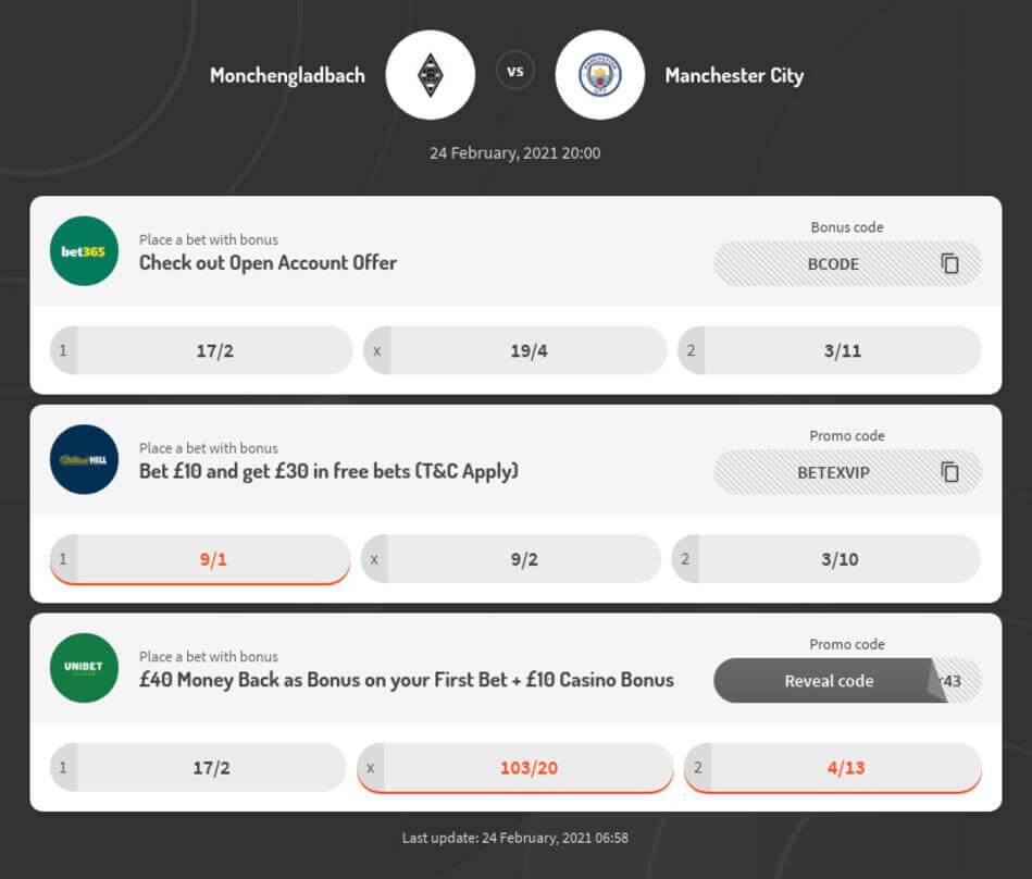 Man City vs Monchengladbach Betting Odds