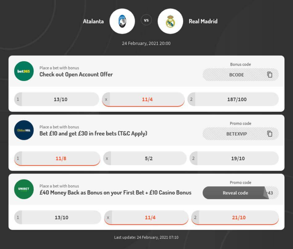 Atalanta vs Real Madrid Betting Odds