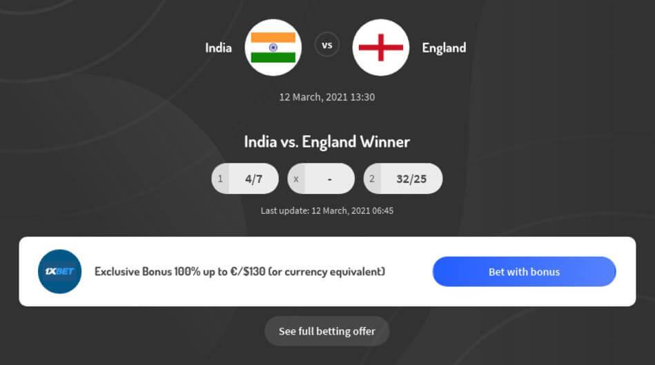 India vs England Betting Odds