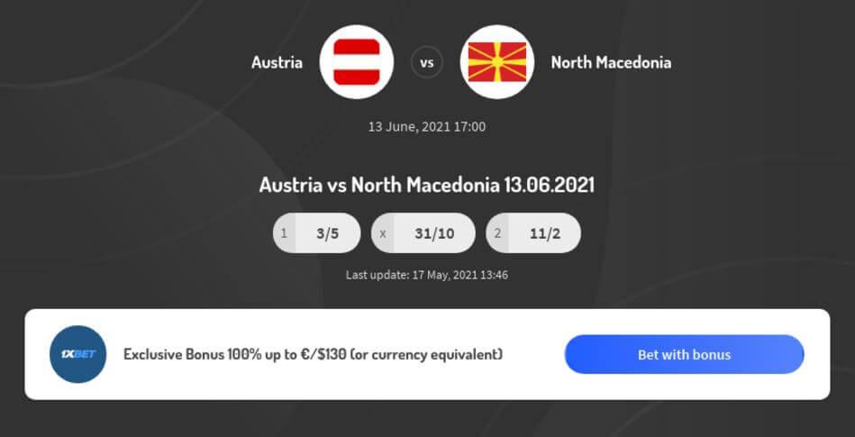 Austria vs North Macedonia Betting Odds
